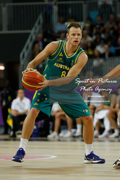 Brad Newley (Australia) in action. France v Australia. The London International Basketball Invitational. London Prepares for Olympics 2012. Basketball Arena, Olympic Park. London. 17/08/2011. MANDATORY Credit Sportinpictures/Paul Chesterton - NO UNAUTHORISED USE - 07837 394578.