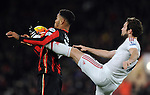 Joshua King of Bournemouth is challenged by Juan Mata of Manchester United<br /> - Barclays Premier League - Bournemouth vs Manchester United - Vitality Stadium - Bournemouth - England - 12th December 2015 - Pic Robin Parker/Sportimage