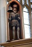 Wooden clock jack figure dated 1682 Holy Trinity church, Blythburgh, Suffolk, England