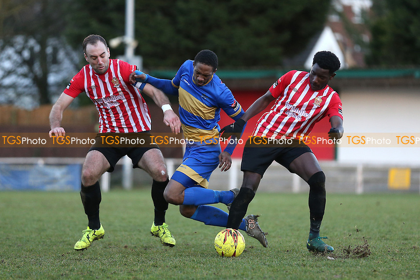 Ayodeji Olukoga of Romford tangles with Tobi Coker of Hornchurch during AFC Hornchurch vs Romford, Ryman League Division 1 North Football at Hornchurch Stadium on 4th February 2017