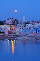 Moon set and Reflections over the Pushkar Lake, Rajasthan India