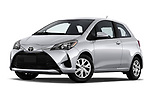 Stock pictures of low aggressive front three quarter view of a 2018 Toyota Yaris L 3-Door Liftback 3 Door Hatchback