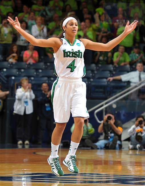 Mar. 18, 2012; Skylar Diggins celebrates in the opening round game of the 2012 Women's Basketball NCAA Tournament...Photo by Matt Cashore/University of Notre Dame
