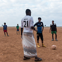 Dec. 22, 2014 - Socotra, Yemen. Football players prepare to start a game near Hadibo. Football is a popular sport on the island, most villages have a team and tournaments are regularly organised. © Nicolas Axelrod / Ruom