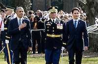 United States President Barack Obama, left, reviews the troops with Prime Minister Justin Trudeau of Canada, right, during an Arrival Ceremony on the South Lawn of the White House in Washington, DC on Thursday, March 10, 2016. Photo Credit: Olivier Douliery/CNP/AdMedia