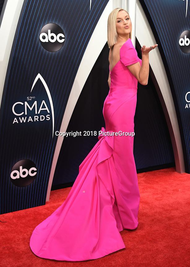 NASHVILLE, TN - NOVEMBER 14:  Kelsea Ballerini at the 52nd Annual CMA Awards at the Bridgetone Arena on November 14, 2018 iin Nashville, Tennessee. (Photo by Scott Kirkland/PictureGroup)