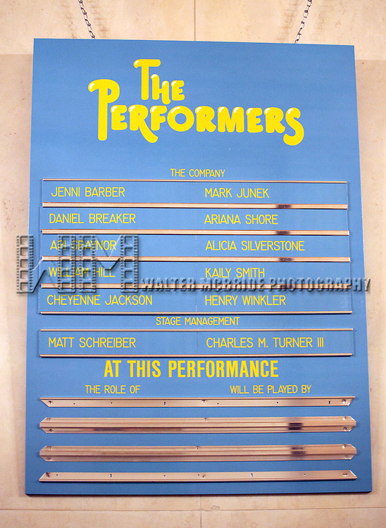 Lobby Cast Board for the Broadway Opening Night Performance Curtain Call for 'The Performers' at the Longacre Theatre in New York City on 11/14/2012