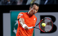 Il tedesco Philipp Kohlschreiber in azione nel corso degli Internazionali d'Italia di tennis a Roma, 11 maggio 2016.<br /> Germany's Philipp Kohlschreiber returns the ball to Spain's Rafael Nadal during the Italian Open tennis tournament, in Rome, 11 May 2016.<br /> UPDATE IMAGES PRESS/Isabella Bonotto
