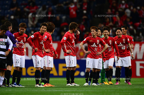 Urawa Reds team group,.MARCH 12, 2013 - Football / Soccer :.Urawa Reds players celebrate after the AFC Champions League Group F match between Urawa Red Diamonds 4-1 Muangthong United at Saitama Stadium 2002 in Saitama, Japan. (Photo by AFLO)