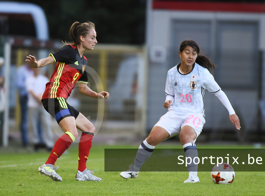 20170613 - LEUVEN ,  BELGIUM : Belgian Tessa Wullaert (L) and Japanese Ayumi Oya (R) pictured during the female soccer game between the Belgian Red Flames and Japan , a friendly game before the European Championship in The Netherlands 2017  , Tuesday 13 th Juin 2017 at Stadion Den Dreef  in Leuven , Belgium. PHOTO SPORTPIX.BE | DIRK VUYLSTEKE