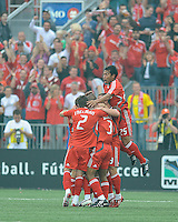 Toronto FC players celebrate the first goal at  BMO Field on Saturday September 13, 2008. .The game ended in a 1-1 draw.
