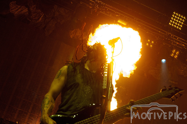 Rock band Disturbed plays during Mayhem Fest 2011 at Verizon Wireless Amphitheater.