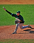 19 April 2009: University of Vermont Catamounts' right handed pitcher Tom Kelly, a Junior from Milton, MA, on the mound against the University at Albany Great Danes at Historic Centennial Field in Burlington, Vermont. The Great Danes defeated the Catamounts 9-4 in the second game of a double-header. The Catamounts are playing their last season of baseball, as the program has been marked for elimination due to budgetary constraints on the University. Mandatory Photo Credit: Ed Wolfstein Photo