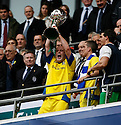 Lee McEvilly of Barrow with the cup after the  FA Trophy Final between Barrow and Stevenage Borough at Wembley Stadium, London on 8th May,2010..© Kevin Coleman 2010.