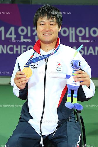 Shingo Kunieda (JPN),<br /> OCTOBER 23, 2014 -  WheelChair Tennis : <br /> Men's Singles Victory ceremony<br /> at Yeorumul Tennis Courts<br /> during the 2014 Incheon Asian Para Games <br /> in Incheon, South Korea. <br /> (Photo by Shingo Ito/AFLO SPORT)