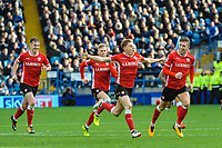 Barnsley's midfielder Harvey Barnes (15) is followed by his team mates celebrating the equaliser during the Sky Bet Championship match between Sheff Wednesday and Barnsley at Hillsborough, Sheffield, England on 28 October 2017. Photo by Stephen Buckley / PRiME Media Images.