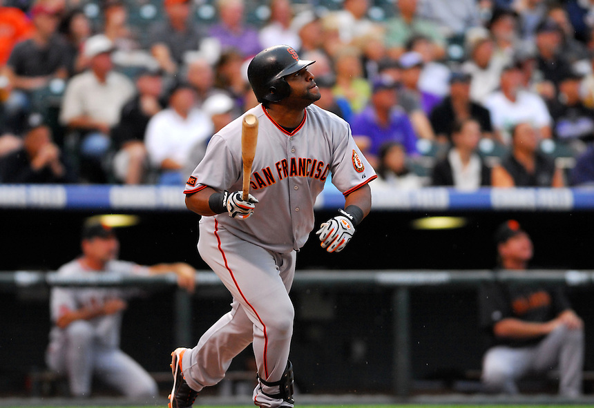 August 24, 2009: Giants 3rd baseman and 2009 National League Most Valuable Player candidate Pablo Sandoval hits an RBI fly ball during a regular season game between the San Francisco Giants and the Colorado Rockies at Coors Field in Denver, Colorado. The Rockies beat the Giants 6-4 in 14 innings, in the 2nd longest game by time ever played at Coors Field. *****For editorial use only*****