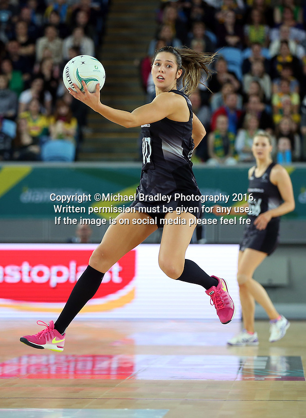 04.09.2016 Silver Ferns Kayla Cullen in action during the Netball Quad Series match between the Silver Ferns and Australia played at Margaret Court Arena in Melbourne. Mandatory Photo Credit ©Michael Bradley.