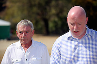 Pictured L-R: Eddie Needham the grandfather of missing Ben Needham with DI Jon Cousins of South Yorkshire Police read a brief statement outside the farmhouse where Ben disappeared from in Kos, Greece. Wednesday 05 October 2016<br /> Re: Police teams led by South Yorkshire Police, searching for missing toddler Ben Needham on the Greek island of Kos have moved to a new area in the field they are searching.<br /> Ben, from Sheffield, was 21 months old when he disappeared on 24 July 1991 during a family holiday.<br /> Digging has begun at a new site after a fresh line of inquiry suggested he could have been crushed by a digger.