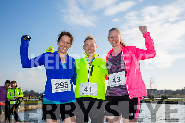Bridget Moore, Denise Minnock and Sandra Byrne, participants who took part in the Kerry's Eye Valentines Weekend 10 mile road race on Sunday.