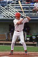 Batavia Muckdogs Chase Utley (8) at bat during his first professional at bat during a game at Dwyer Stadium in Batavia, New York during the 2000 season.  Photo By Mike Janes/Four Seam Images