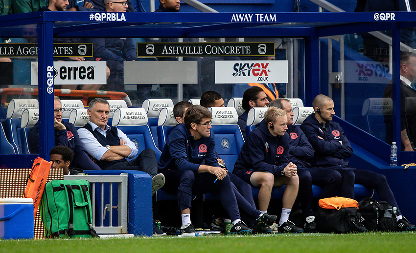Blackburn Rovers' manager Tony Mowbray pictured towards the end of the match<br /> <br /> Photographer Andrew Kearns/CameraSport<br /> <br /> The EFL Sky Bet Championship - Queens Park Rangers v Blackburn Rovers - Saturday 5th October 2019 - Loftus Road - London<br /> <br /> World Copyright © 2019 CameraSport. All rights reserved. 43 Linden Ave. Countesthorpe. Leicester. England. LE8 5PG - Tel: +44 (0) 116 277 4147 - admin@camerasport.com - www.camerasport.com