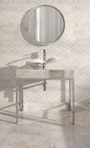 Goffigan, a hand-cut stone mosaic, shown in polished Dolomite and Cloud Nine with Versailles Grand, a hand-cut stone mosaic, shown in polished Cloud Nine.