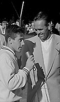 Australian tennis player Ken Rosewall speaks with Jack Kramer after winning 1956 U.S. Men's National Championship against fellow Australian Lew Hoad. West Side Tennis Club, Forest Hills, New York. Photograph by John G. Zimmerman.
