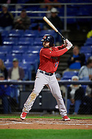 Portland Sea Dogs third baseman Chad De La Guerra (43) at bat during a game against the Binghamton Rumble Ponies on August 31, 2018 at NYSEG Stadium in Binghamton, New York.  Portland defeated Binghamton 4-1.  (Mike Janes/Four Seam Images)