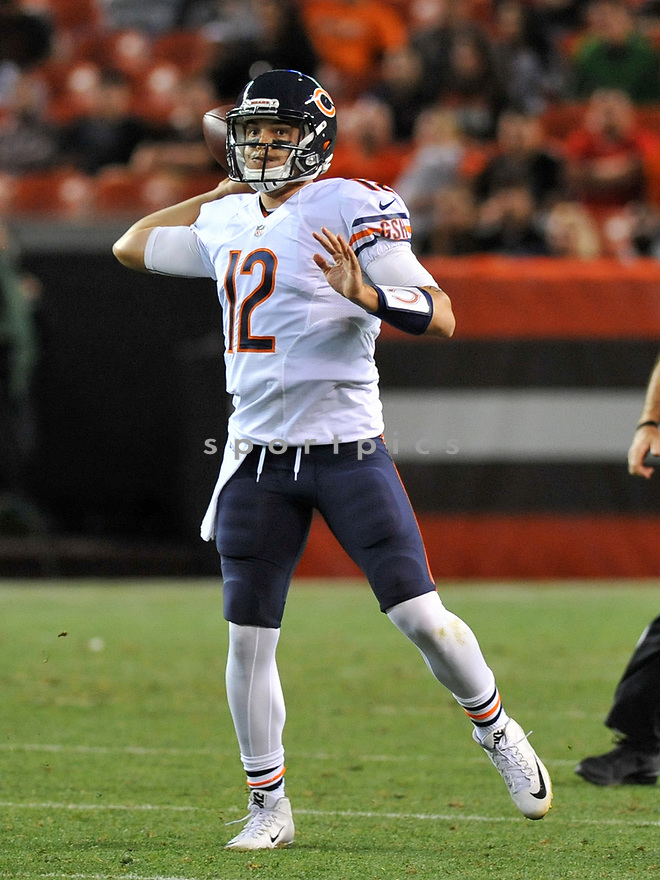 CLEVELAND, OH - SEPTEMBER 1, 2016: Quarterback David Fales #12 of the Chicago Bears throws a pass in the fourth quarter of a game on September 1, 2016 against the Cleveland Browns at FirstEnergy Stadium in Cleveland, Ohio. Chicago won 21-7. (Photo by: 2016 Nick Cammett/Diamond Images)  *** Local Caption *** David Fales