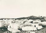 Ice blocks near Nuuk, Greenland in the late 19th century, circa 1889,