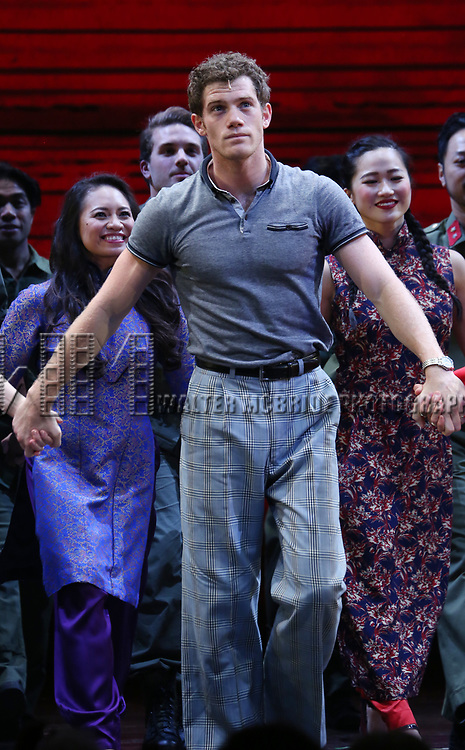 """Alistair Brammer during The Opening Night Curtain Call Bows for the New Broadway Production of """"Miss Saigon"""" at the Broadway Theatre on March 23, 2017 in New York City"""