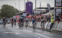 Dylan Groenewegen (NED/LottoNL-Jumbo) on his way to winning the bunch sprint of the Tour de l'Eurom&eacute;tropole 2016 (1.1) while 2nd Oliver Naesen (BEL/IAM) is being (deliberately?) boxed in by Groenewegen while nearing the finish line <br /> <br /> Poperinge &rsaquo; Tournai (196km)/ Belgium