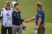 Zach Johnson (USA) shakes hands with Charley Hoffman (USA) following Round 2 of the Valero Texas Open, AT&amp;T Oaks Course, TPC San Antonio, San Antonio, Texas, USA. 4/20/2018.<br /> Picture: Golffile | Ken Murray<br /> <br /> <br /> All photo usage must carry mandatory copyright credit (&copy; Golffile | Ken Murray)
