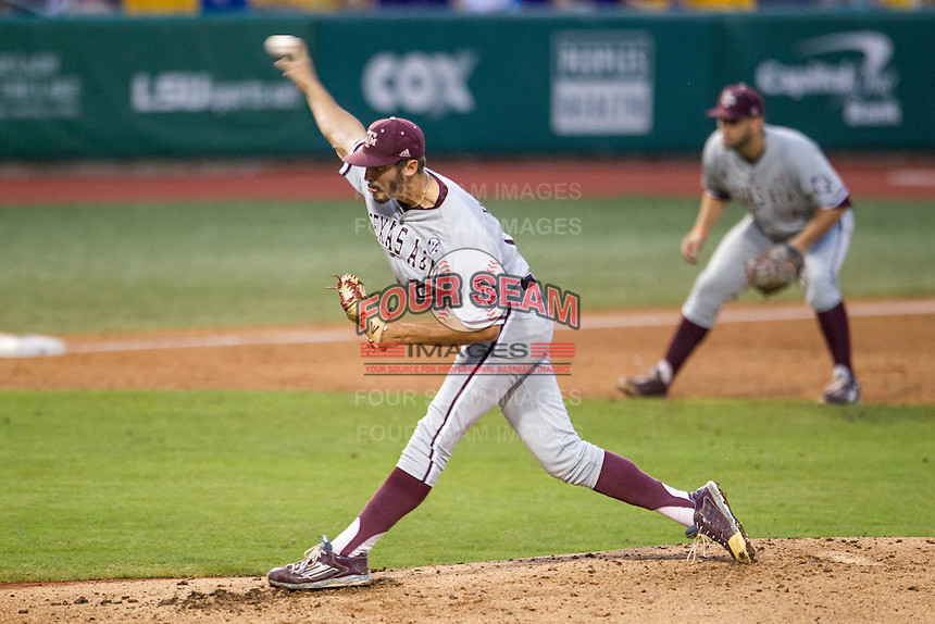 Texas A&M Aggies pitcher Ryan Hendrix (27) delivers a pitch to the plate during a Southeastern Conference baseball game against the LSU Tigers on April 24, 2015 at Alex Box Stadium in Baton Rouge, Louisiana. LSU defeated Texas A&M 9-6. (Andrew Woolley/Four Seam Images)