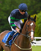 Back the Boreen ridden by Rob Hornby goes down to the start of The Dee Wilks Against The Odds Confined Novice Stakes (Div 1) during Afternoon Racing at Salisbury Racecourse on 12th June 2018
