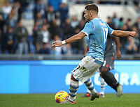 Football, Serie A: S.S. Lazio - Udinese Olympic stadium, Rome, December 1, 2019. <br /> Lazio's Ciro Immobile kicks a penalty and scores during the Italian Serie A football match between S.S. Lazio and Udinese at Rome's Olympic stadium, Rome on December 1, 2019.<br /> UPDATE IMAGES PRESS/Isabella Bonotto