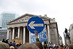 Anti capitalist / greed demonstration in front of the Bank of England. Thousands of protesters marched on the Bank of England in the city of London during the G20 conference meeting, London April 2009 , RBS  Bank windows were smashed on the ground floor.  Police made around 90 arrests.