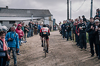 Lennert Teugels (BEL/Cibel - Cebon) cheered on <br /> <br /> cheered on 35th Tro Bro Leon 2018<br /> 1 Day Race: Le Carpont - Lannilis (FRA/203km)