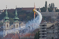 0708194021a Red Bull Air Race international air show qualifying runs over the river Danube, Budapest preceding the anniversary of Hungarian state foundation. Hungary. Sunday, 19. August 2007. ATTILA VOLGYI