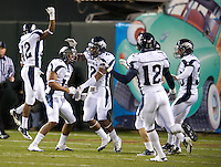 San Francisco, California, January 9, 2010 - Richard Mathews and teammates celebrates a touchdown during the first Kraft Fight Hunger Bowl in San Francisco, California, January 9, 2011. Nevada defeated Boston College 20-13.