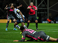 Referee Kevin Friend waves away Leeds United appeals for a penalty<br /> <br /> Photographer Alex Dodd/CameraSport<br /> <br /> The EFL Sky Bet Championship - Preston North End v Leeds United - Tuesday 22nd October 2019 - Deepdale Stadium - Preston<br /> <br /> World Copyright © 2019 CameraSport. All rights reserved. 43 Linden Ave. Countesthorpe. Leicester. England. LE8 5PG - Tel: +44 (0) 116 277 4147 - admin@camerasport.com - www.camerasport.com