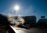 Oct 18, 2019; Ennis, TX, USA; NHRA top fuel driver Antron Brown does a burnout during qualifying for the Fall Nationals at the Texas Motorplex. Mandatory Credit: Mark J. Rebilas-USA TODAY Sports