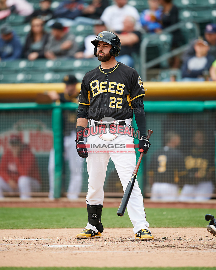 Kaleb Cowart (22)) of the Salt Lake Bees at bat against the El Paso Chihuahuas in Pacific Coast League action at Smith's Ballpark on April 30, 2017 in Salt Lake City, Utah. El Paso defeated Salt Lake 12-3. This was Game 2 of a double-header originally scheduled on April 28, 2017. (Stephen Smith/Four Seam Images)