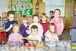 ENJOYING: Junior infants of Scoil Mhacolche?adair, enjoying their first week at school are front l-r: Caitri?ona Nic Dhonnchadha, Dylan O Conchu?ir agus Katie Ni? Bhriain. Back l-r: Ben O Briain, Ma?ire Ni? Ne?ill, Shauna Ruise?al Ni? Nuana?in, Ciaran O Bambaire agus Alanna Nic an La?imh.