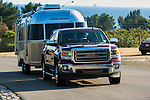 GMC Sierra truck towing Airstream travel trailer