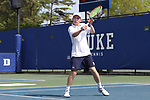 DURHAM, NC - APRIL 14: Notre Dame's Matt Gamble. The Duke University Blue Devils hosted the University of Notre Dame Fighting Irish on April 14, 2017, at Ambler Tennis Stadium in Durham, NC in a Division I College Men's Tennis match. Duke won the match 4-3.