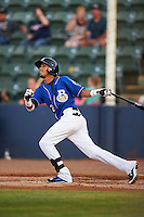 Biloxi Shuckers shortstop Orlando Arcia (2) at bat during a game against the Birmingham Barons on May 23, 2015 at Joe Davis Stadium in Huntsville, Alabama.  Birmingham defeated Biloxi 2-0 as the Shuckers are playing all games on the road, or neutral sites like their former home in Huntsville, until the teams new stadium is completed in early June.  (Mike Janes/Four Seam Images)