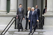 (L-R) White House Senior Adviser Jared Kushner,  Secretary of Homeland Security Kirstjen Nielsen, Vice President Mike Pence, and White House Senior Adviser Stephen Miller exit the Eisenhower Executive Office Building on January 05, 2019 in Washington, DC. The U.S government is going into the third week of a partial shutdown with Republicans and Democrats at odds on agreeing with President Donald Trump's demands for more money to build a wall along the U.S.-Mexico border.  <br /> Credit: Tasos Katopodis / Pool via CNP