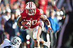 Wisconsin Badgers running back James White (20) carries the ball during an NCAA football game against the Brigham Young Cougars Saturday, November 9, 2013, in Madison, Wisc. The Badgers won 27-17. (Photo by David Stluka)